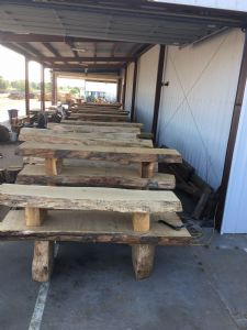 Many log bench/table sets